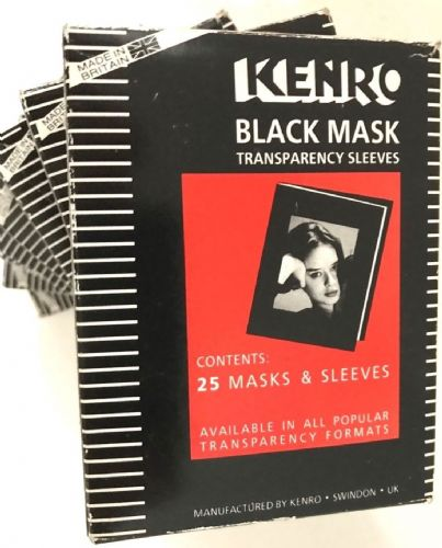 KENRO BLACK 35MM MASK AND SLEEVE PRESENTATION MOUNTS 8 BOXES OF 25